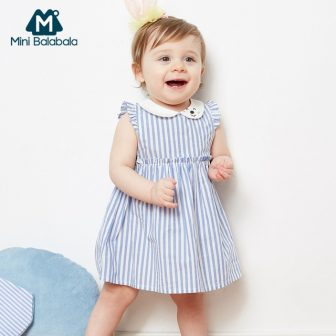 Mini Balabala Baby Girl 100% Cotton Striped Dress with Short Butterfly Sleeve...