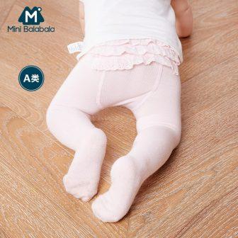 Mini Balabala Baby Girl Soft Cotton Footed Tights with Ruffle Trim at...