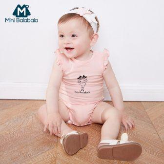 Mini Balabala Baby Girls Cotton Printed Romper with Short Butterfly Sleeve Newborn...