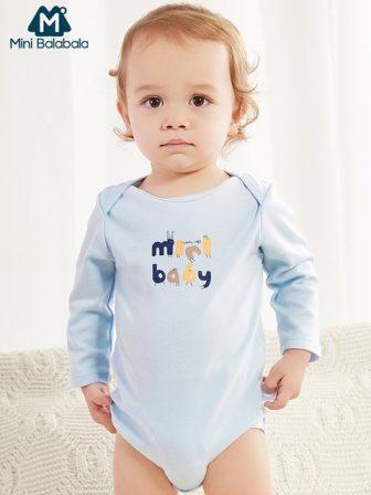 Mini Balabala Baby Graphic Bodysuit Long Sleeve Soft Cotton Romper One-Piece Newborn...