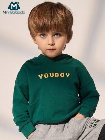 Mini Balabala Kids Hoodie Sweatshirt Toddler Boys LaserLetter Printed Hooded Cotton Pullover...