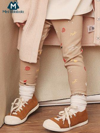 Mini Balabala Kids Spring Autumn Leggings Graphic Printed Girls Toddler Kids Bottoms...
