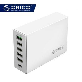 ORICO 6-ports USB Type-C QC2.0 Quick Charger 5V2.4A 9V2A 12V1.5A Type-C 3.1A...