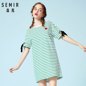 Semir Dress for women Summer cotton 2018 New Striped dresses Long Embroidery...