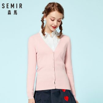 SEMIR Knitted Cardigan sweater 2018 Autumn Women Simple Solid Straight Bottom Wearing...