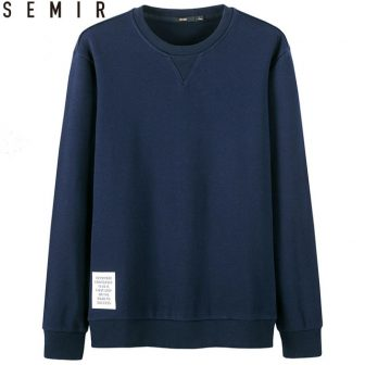 SEMIR men solid hoodies cotton casual o-neck sweatshirt for male spring pullover...