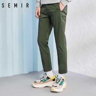 SEMIR pants men thin black chic fashion Sweatpants male solid pants Casual...