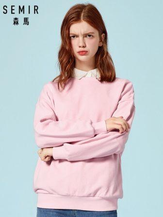 SEMIR Women Sweatshirt Pullover Sweatshirt with Ribbed Crewneck and Cuffs and Hem...